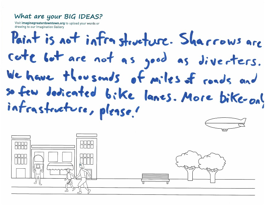 Paint is not infrastructure. Sharrows are cute but are not as good as diverters. We have thousands of miles of roads and so few dedicated bike lanes. More bike-only infrastructure, please!