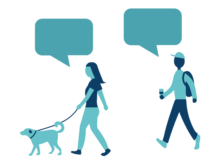 icons of two people walking a dog with text bubbles above their heads